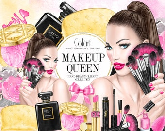 Makeup Clip Art Cosmetics Clipart, Fashion Clip Art, Makeup Set Planner Stickers Supplies Perfume Lipstick Illustration Beauty Blog Fashion