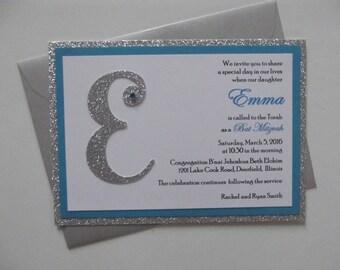 Glitter Silver Turquoise Bat Mitzvah Invitations