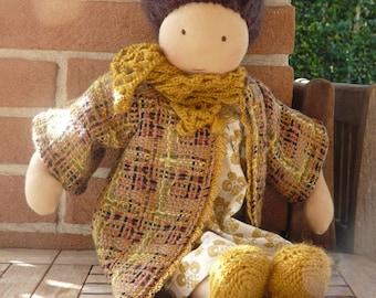 Waldorf doll Luna,waldorf inspired doll,steiner doll,organic doll,17,5 inches tall doll,fabric doll, cloth doll,handmade,ready to ship