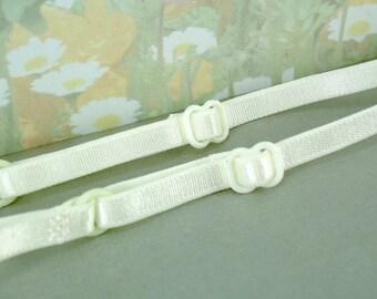"2 Bra Straps Adjustable Ivory Satin Elastic Bra Straps 1/4"" inch Skinny Thin for Lingerie, Headband, Camisole Bra"