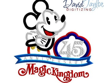 Magic Kingdom 45th Anniversary - 4x4, 5x7, 6x10 and 8x8 in 9 formats - Applique - Instant Download - David Taylor Digitizing