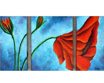 Poppy Painting, Red Poppy, Triptych, Red Flower, Floral Painting, Red Poppy Painting, Three Canvas Painting, Orange Flower, Helen Eaton