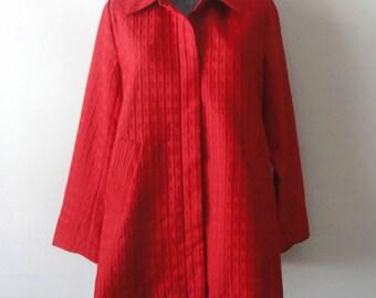 Red Designer Coat, 80s George Simonton Jacket SIMONTON Says Mod Minimalist Outerwear M, Short Flared Jacket Polyester Car Coat
