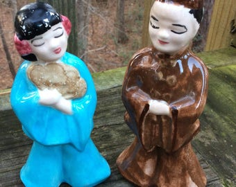 Vintage Asian Couple Figurines naturally distressed