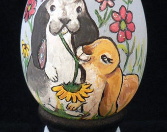 Hand Painted Easter Egg, Bunnies