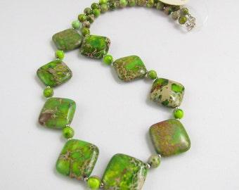 Green Jasper Beaded Necklace, Ocean Jasper, Handmade by Harleypaws