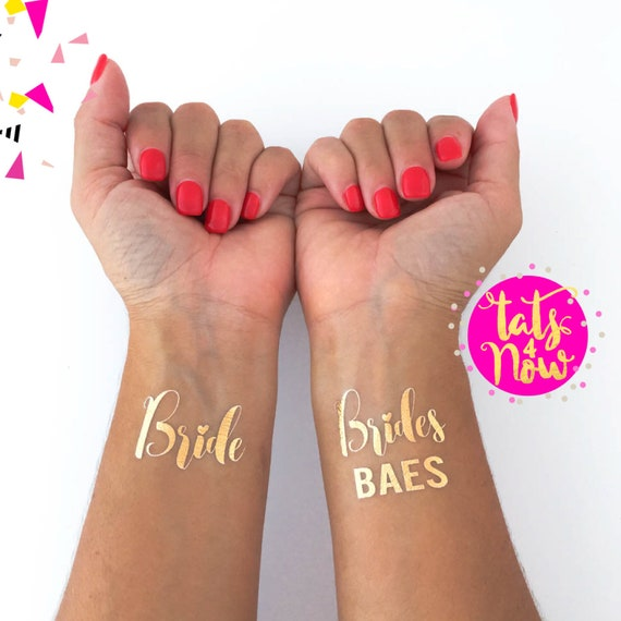 Brides BAES, bachelorette party tattoo, gold tattoo, select how many, bachelorette decorations, gold tattoo, bridesmaid gift
