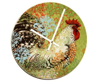 """SILENT 9"""" Colorful Rooster Wall Clock, Boho Rooster Clock, Ceramic Plate Clock, Unique Wall Decor, Kitchen Clock, Country Rustic Clock  2407"""