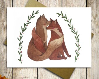 Greeting card with foxes in love, valentine card, love card, anniversary card, wedding gift card, valentines day gift, card for her