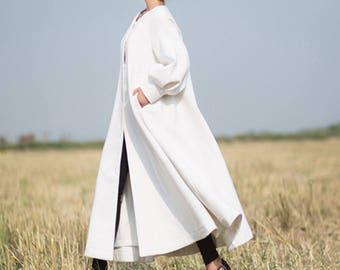 White coat long full length wool jacket warm cozy coat dress coat bishop sleeve coat plus size winter coat gift for her