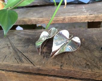 Sterling Silver Heart Shaped Leaf Earrings