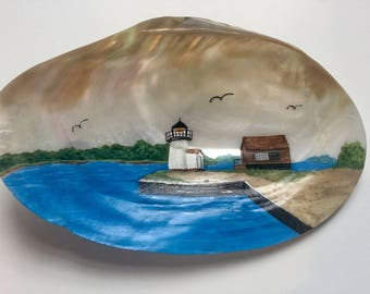 Handpainted Mystic River Lighthouse on Shell