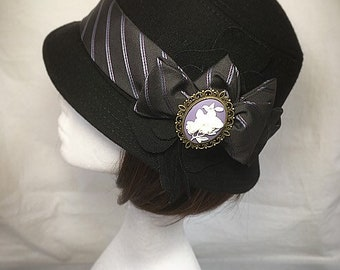 Downton Abbey hat, Ladies black hat , Black Cloche hat, Cameo brooch, Mothers day gift