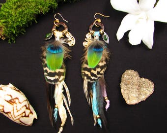 Peacock feather earrings, diopside and Chameleon totem