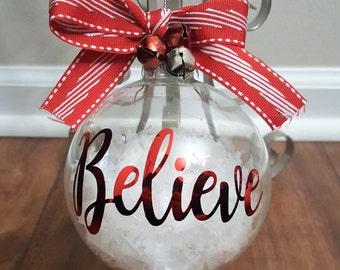 Believe Ornament, Believe Christmas Ornament, Christmas Ornament, Holiday Ornament