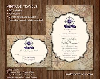 Vintage Travel Wedding Invitation Set - Printed - Customizable