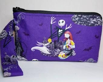 Jack Skelton purple wristlet, cosmetic bag, make up clutch, 8x5, handle, zipper, inside pocket, Nightmare before Christmas bag