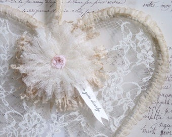 Gathered Tulle & Lace Heart with Shabby Pink Fringe Lace and Tulle Flower, Heartfelt Lace Heart Gift, Ivory Lace Heart