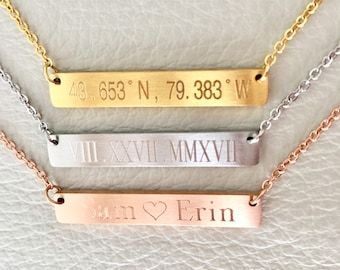 personalized necklace, coordinate, roman numbers ,monogram bar necklace , bridesmaid gift, bar necklace.