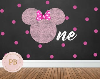Digital Minnie Birthday Backdrop, First Birthday, Minnie Mouse Party Decor, Party Sign, Photobooth, Sweet table Backdrop