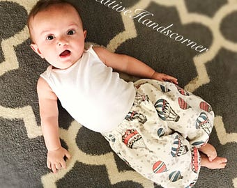Baby boy / toddler boy snuggle flannel hot air balloon bubble pants • Made to order