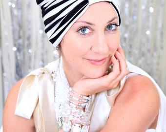 Black and White Striped Turban - Women's Fashion Hair Warp in Retro Stripes Print