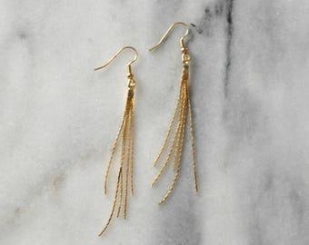 Gold Tassel Earrings, Gold Chain Tassel, Chain Earrings, Statement Earrings, Metallic Tassel, Gold Earrings, Delicate Tassel Earrings