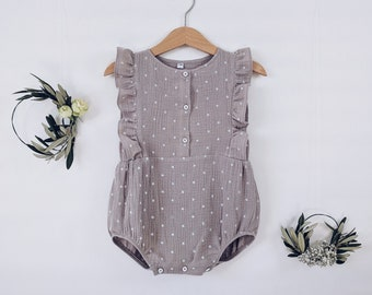 muslin baby romper, baby outfit, baby playsuit, baby suit, muslin romper, baby shower, baby clothes, newborn clothes, organic cloth