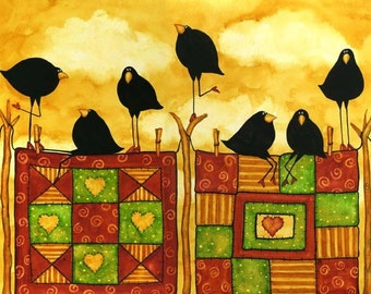 Farmhouse Quilt Crow Blackbird Raven Whimsical Debi Hubbs Folk Art Quilting Quilt