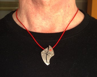 """25% off-925 silver pendant and natural CORAL-""""Red Moon Night"""""""