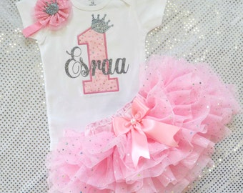 First Birthday Outfit Girl Baby Girl 1st Birthday Outfit 1st Birthday Girl Outfit Pink silver Cake Smash Outfit Personalized Birthday Dress