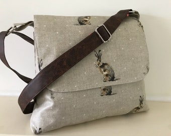 Rabbit bag,hare bag ,oilcloth bag, hare satchel ,neutral satchel ,neutral bag