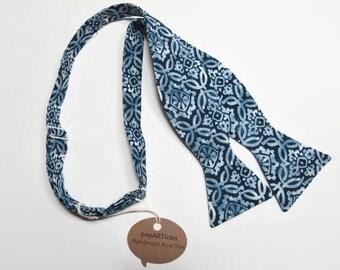Freestyle Blue Batik Bow Tie - Blue Medallion Bow Tie - Navy Bow Tie - Men's Self-Tie Bow Tie - Blue Bow Tie - Blue Floral Bow Tie