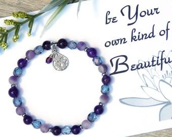Card, Inspirational Bracelet, Inspirational Jewelry, Gift for Daughter, Purple Bracelet,  Amethyst Bracelet, February Birthstone