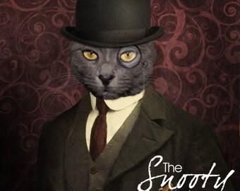 Custom Cat Portrait, Bowler Hat, Vintage Portrait, Personalized Dog portrait, Cat portrait