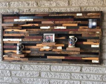 Rustic Wall Art With Shelves Handmade Of  Reclaimed Barn Wood, Rustic Wall Decor,  Wood Wall Art,  Wall Sculpture, Barn Wood