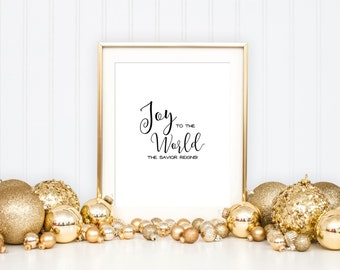 Christmas Printable Art Print 8x10, Joy to the World, Black and White, Christmas Holiday Printable, Christmas Art Print, Christmas Hymn