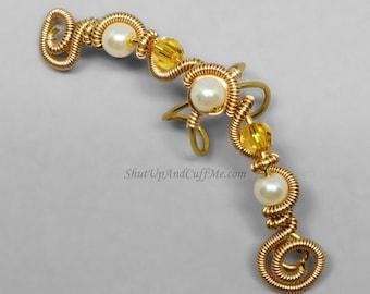 Gold Fairy Ear Cuff Glass Pearl Ear Cuff Topaz Swarovski Crystal Ear Cuff Fantasy Ear Cuff