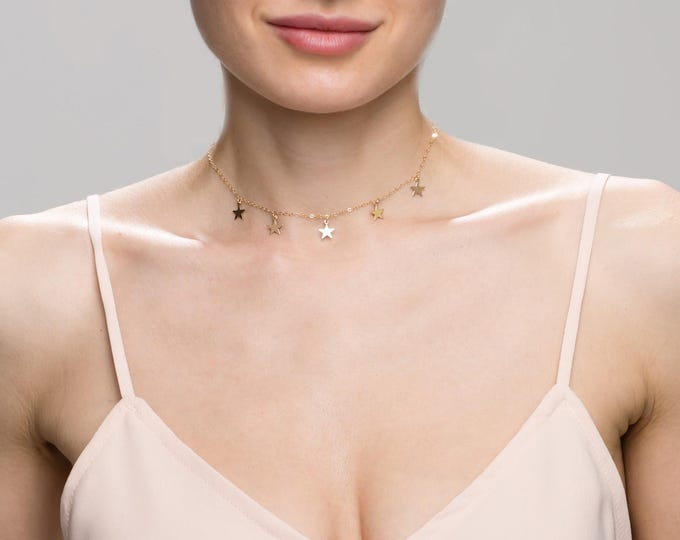 Star Choker Necklace // Simple Star Necklace // Dainty necklace