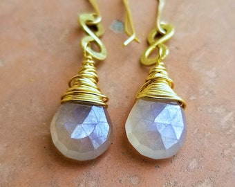 AAA Faceted Mystic Pearl Chalcedony Big Pear Briolette Earrings, Hammered Brass Infinity Shape, Wire Wrapped Chalcedony Briolette Earrings