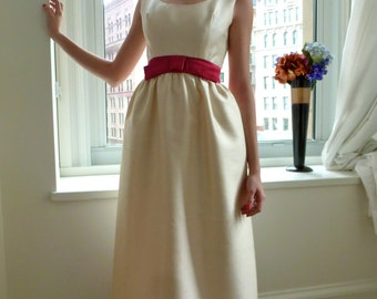 1960s Couture Gown Dupioni Ivory & Crimson Silk  Empire Waist  Prom Jackie O Vintage
