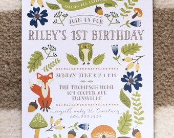 Customizable birthday party invitation: Whimsical Woodland