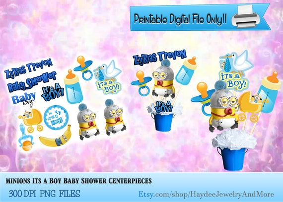 Minions Baby Shower Centerpiece Printable Baby Boy Baby Shower