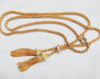 Rhinestone and Golden Chain Vintage Necklace Adjustable Costume Jewelry