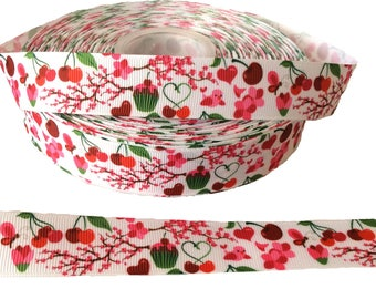 """7/8"""" Red pink cherry blossom Floral Print ~  Grosgrain Ribbon ~ Trim ~ Hair Bows ~ Gift Wrap ~ Scrapbook"""
