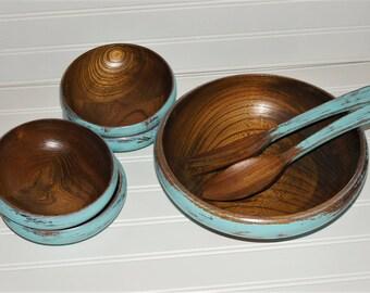 Upcycled Vintage Wood Salad Bowl Set / Ocean Blue / Walnut Bowls / Wood Salad Bowl / Serving Bowls / Popcorn Bowl / Shabby Bowls