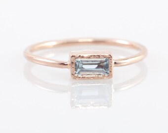 Aquamarine Engagement ring in 14k rose gold, March birthstone, 14k gold ring, Gemstone ring, Promise ring, Wedding ring, Birthstone  ring
