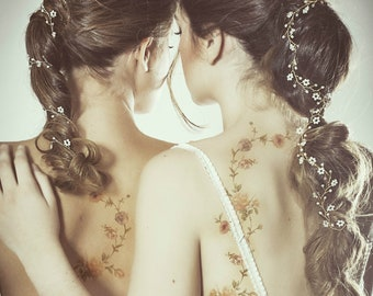 wedding crystal hair vine, wedding crystal headpiece, bridal crystal hair vine, bohemian white headpiece, boho headpiece, flower hair vine