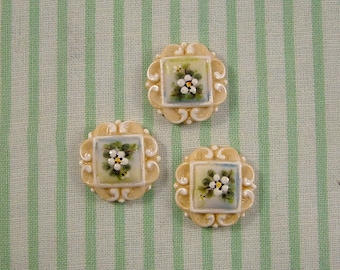 White Scroll Buttons set of 3