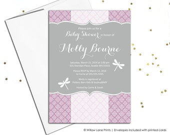 Dragonfly baby shower invitation for girls | purple baby shower invites | printable or printed - WLP00768